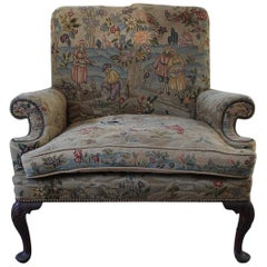 Unusual Oversized Queen Anne Style Wing Chair