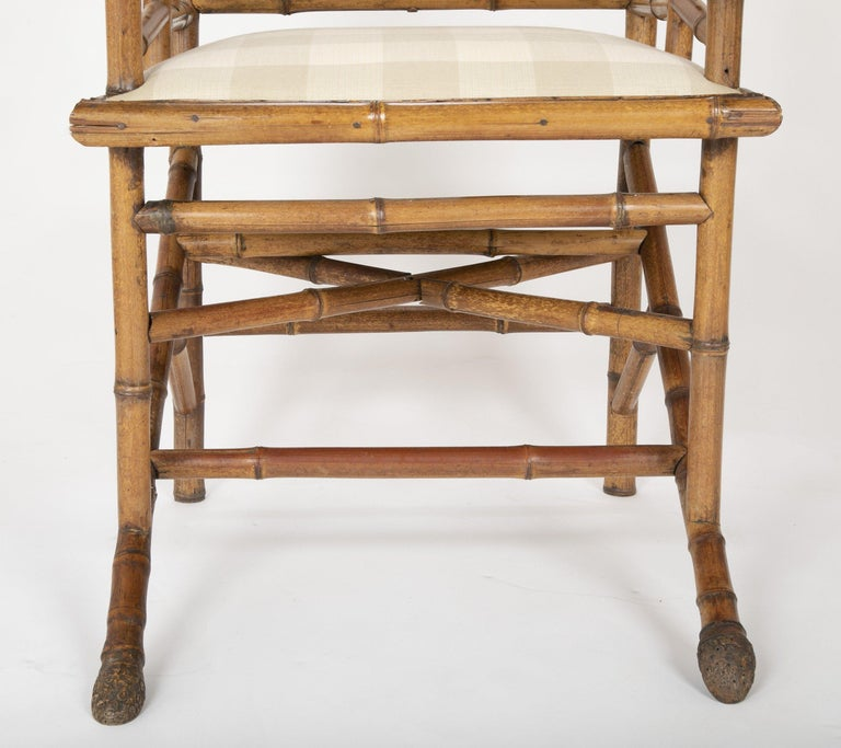 Unusual Pair of English Bamboo Armchairs For Sale 3