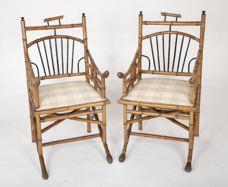 Regency Unusual Pair of English Bamboo Armchairs For Sale