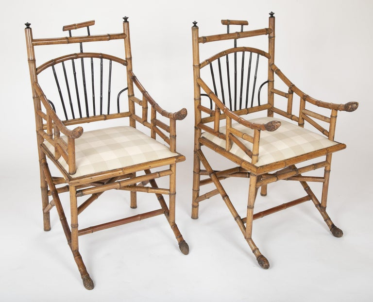 European Unusual Pair of English Bamboo Armchairs For Sale