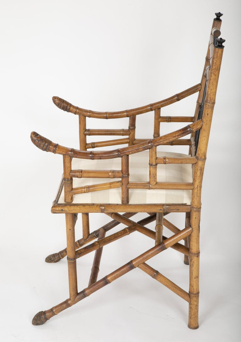 Late 19th Century Unusual Pair of English Bamboo Armchairs For Sale