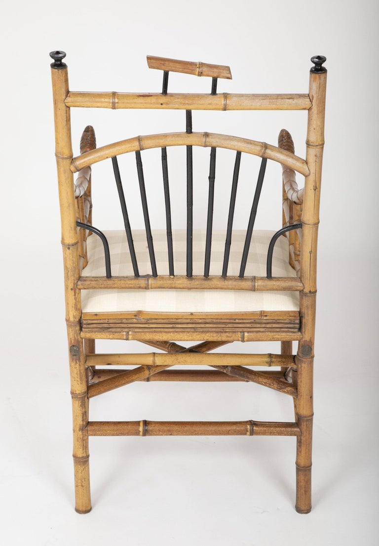 Wood Unusual Pair of English Bamboo Armchairs For Sale