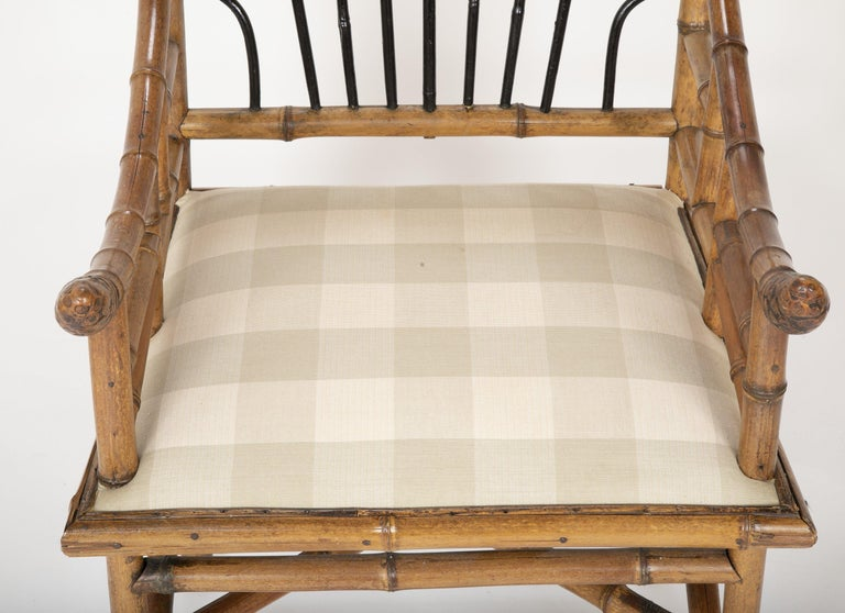 Unusual Pair of English Bamboo Armchairs For Sale 2