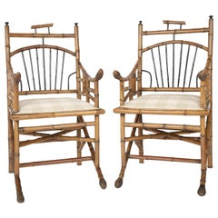 Unusual Pair of English Bamboo Armchairs