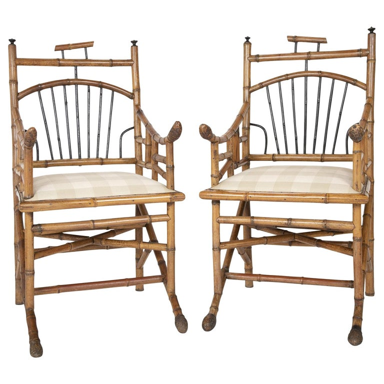Unusual Pair of English Bamboo Armchairs For Sale
