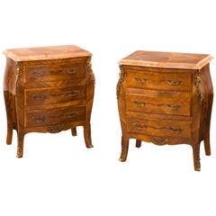 Unusual Pair of Kingwood Bombe Dwarf Commodes or Chests