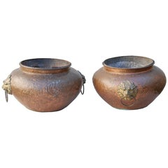 An Unusual Pair of Large Regency Hand Hammered Copper Planters