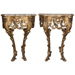 Unusual Pair of Petit Rococo Revival Giltwood Console Tables, circa 1860
