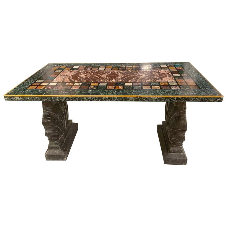 """An Unusual """"Specimen Petra Dura"""" Marble Top Table For Sale"""