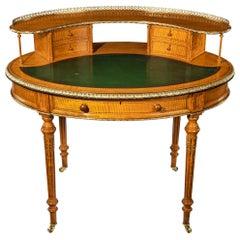 Unusual Victorian Freestanding Oval Satinwood Desk
