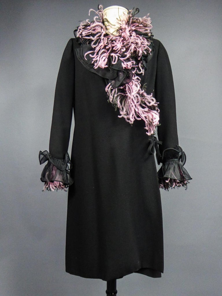 Black An Yves Saint Laurent Haute Couture Coat Dress Numbered 29390 Circa 1970/1980 For Sale