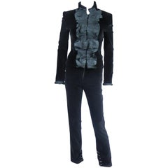 An Yves Saint Laurent Rive Gauche Velvet And Taffeta Tuxedo Pant Suit Circa 2004
