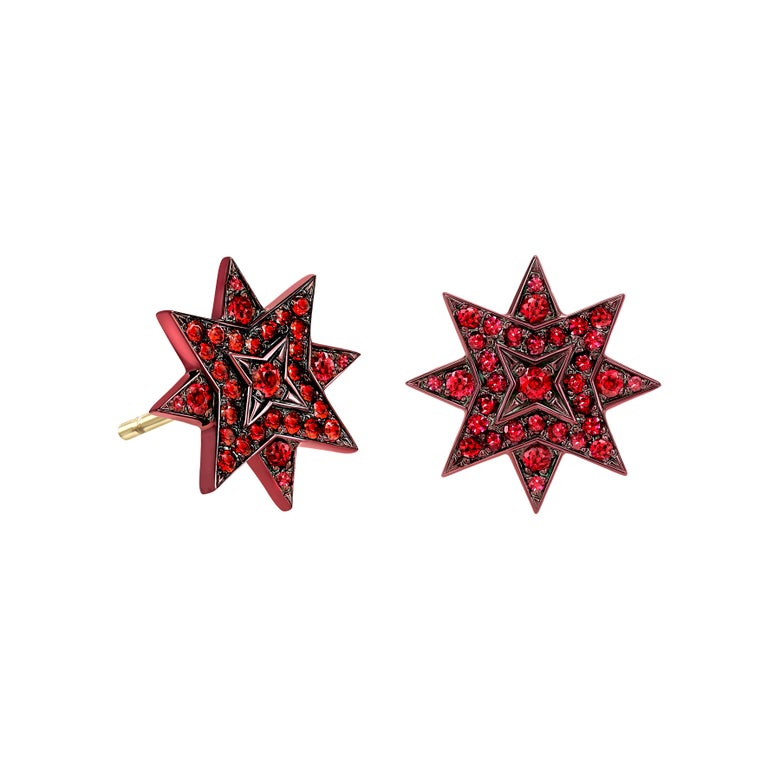 Ana de Costa 18 Carat Yellow Gold Ruby Star Stud Earrings For Sale