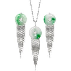 Ana de Costa Platinum Jade White Diamond Circular Chain Drop Pendant Earring Set