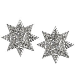 Platinum Round White Diamond Star Stud Earrings
