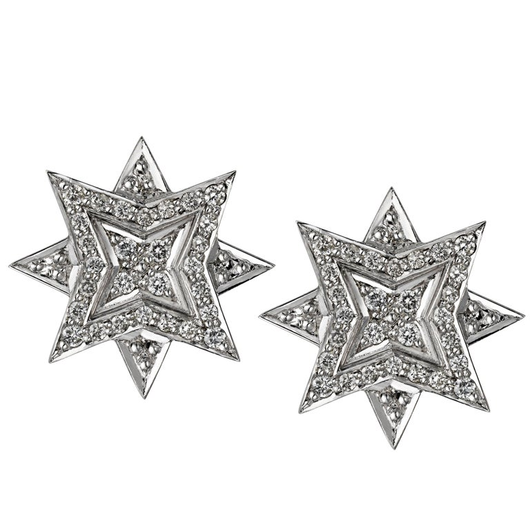 Platinum Round White Diamond Star Stud Earrings
