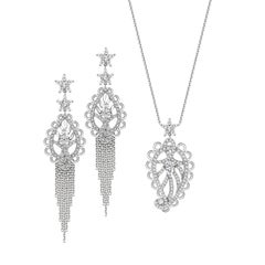 Ana de Costa Platinum White Diamond Paisley Chain Drop Earring Pendant Set