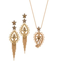 Ana de Costa Rose Gold Cognac Diamond Paisley Drop Chain Earrings Pendant Set