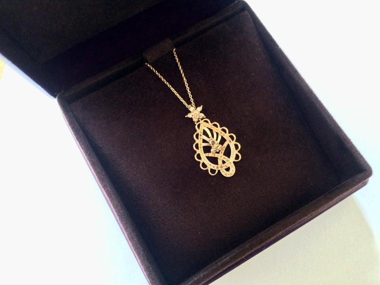Ana De Costa Rose Gold Pear Round Cognac Diamond Paisley Drop Chain Pendant For Sale 4