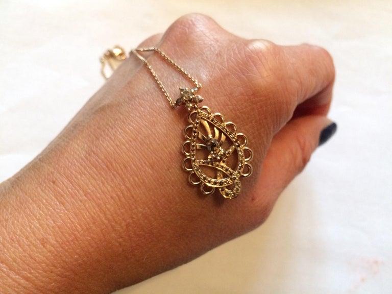 Round Cut Ana De Costa Rose Gold Pear Round Cognac Diamond Paisley Drop Chain Pendant For Sale