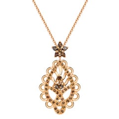 Ana De Costa Rose Gold Pear Round Cognac Diamond Paisley Drop Chain Pendant