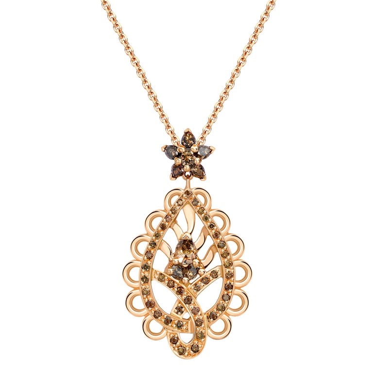 Ana De Costa Rose Gold Pear Round Cognac Diamond Paisley Drop Chain Pendant For Sale