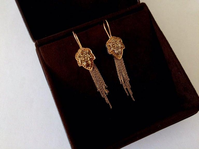 Women's Ana de Costa White Pear Round Diamond Platinum Drop Chain Tassel Earrings For Sale