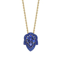 Ana de Costa Yellow Gold Blue Sapphire Pear Drop Chain Pendant