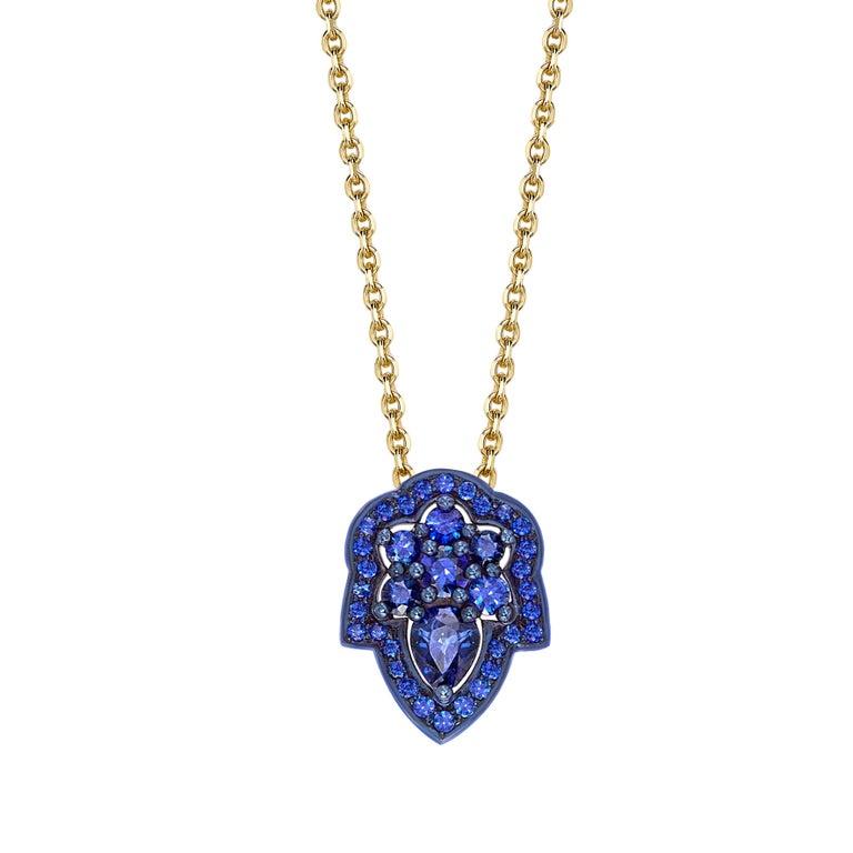 Ana de Costa Yellow Gold Blue Sapphire Pear Drop Chain Pendant