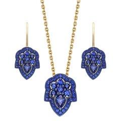 Ana de Costa Yellow Gold Blue Sapphire Pear Drop Earring Chain Pendant Set