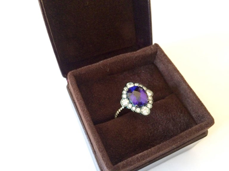 Ana De Costa Yellow Gold Blue Tanzanite White Diamond Cocktail Engagement Ring For Sale 4
