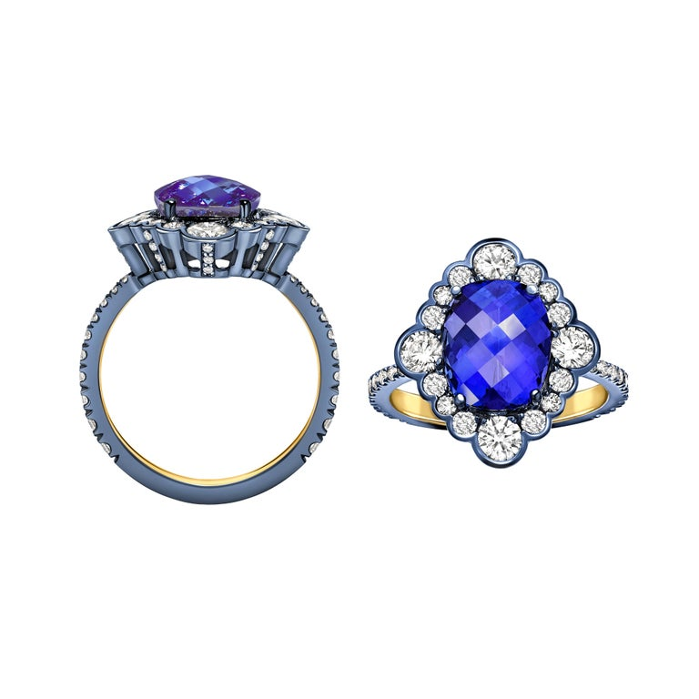 This beautiful ring is a unique one of a kind creation made in our London atelier using the finest craftsmanship and materials.  The tanzanite is a cushion cut with chequerboard detailing on the top and weighs 3.82ct. This is flanked by a beautiful