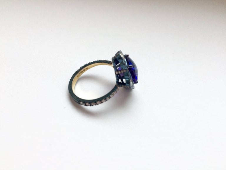 Ana De Costa Yellow Gold Blue Tanzanite White Diamond Cocktail Engagement Ring In New Condition For Sale In London, Kent