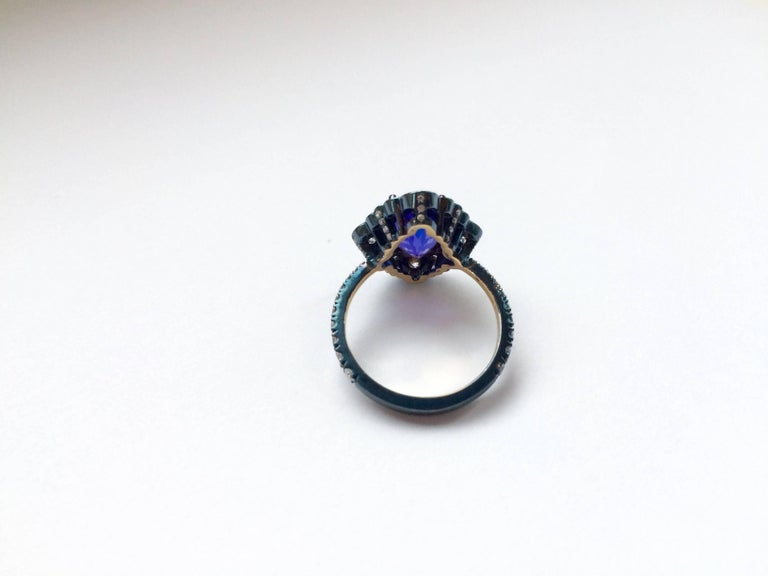 Women's Ana De Costa Yellow Gold Blue Tanzanite White Diamond Cocktail Engagement Ring For Sale
