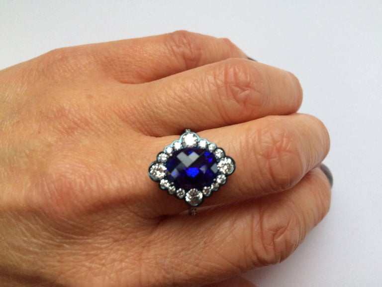 Ana De Costa Yellow Gold Blue Tanzanite White Diamond Cocktail Engagement Ring For Sale 1