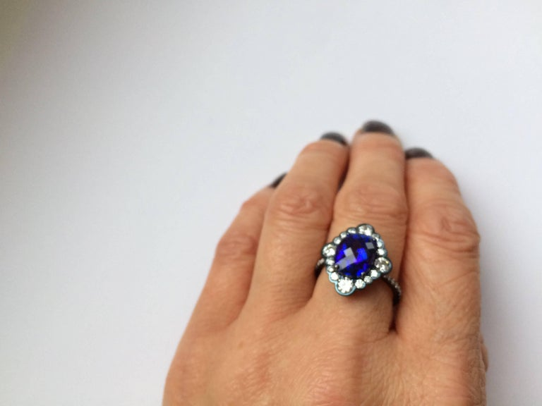 Ana De Costa Yellow Gold Blue Tanzanite White Diamond Cocktail Engagement Ring For Sale 3