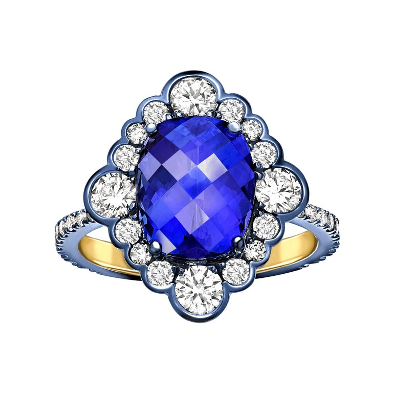 Ana De Costa Yellow Gold Blue Tanzanite White Diamond Cocktail Engagement Ring For Sale
