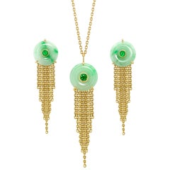 Ana de Costa Yellow Gold Circular jade Tsavorite Chain Drop Earring Pendant Set