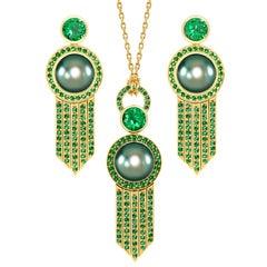 Ana de Costa Gelbgold Tahitianische Perle Tsavorit Deco Tropfen-Ohrring Tropfen-Anhänger