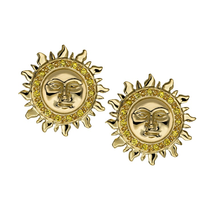 Contemporary Ana De Costa Yellow White Gold White Diamond Sun Moon Circular Stud Earrings For Sale
