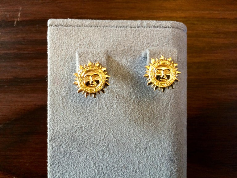 Ana De Costa Yellow White Gold White Diamond Sun Moon Circular Stud Earrings In New Condition For Sale In London, Kent