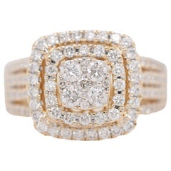 Ana Madelyn 14 Karat Yellow Gold Round Diamond Cluster Halo Engagement Ring