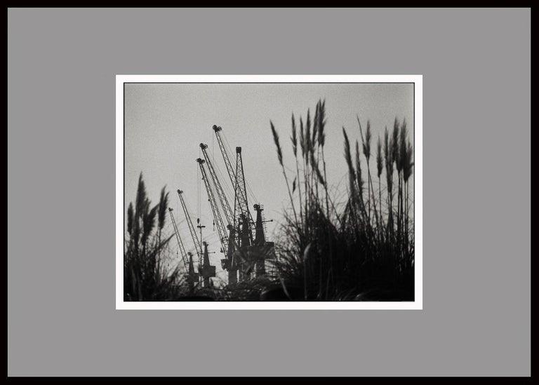 Harbor, Black & White Photography, Gelatin Silver Print, Signed, Portugal 2000 - Gray Landscape Photograph by Ana Maria Cortesão