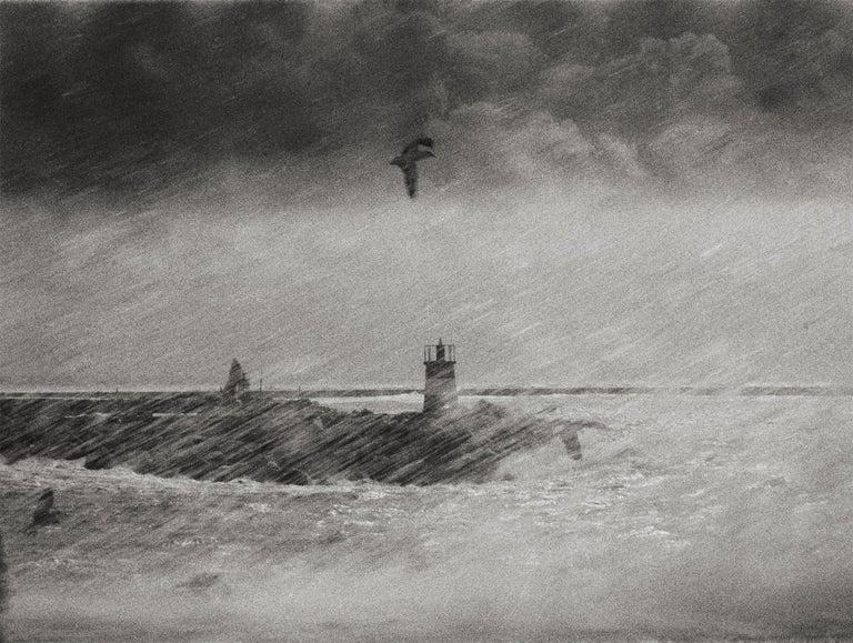 Ana Maria Cortesão Landscape Photograph - Storm, Portugal 1999 /Gelatin Silver Print/ Signed