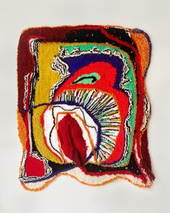 histérica #1, red abstract wall hanging, fiber art, textured textile