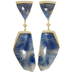 Anahita 72.0 Carat Faceted Blue Sapphire White Diamond One of a Kind Earrings