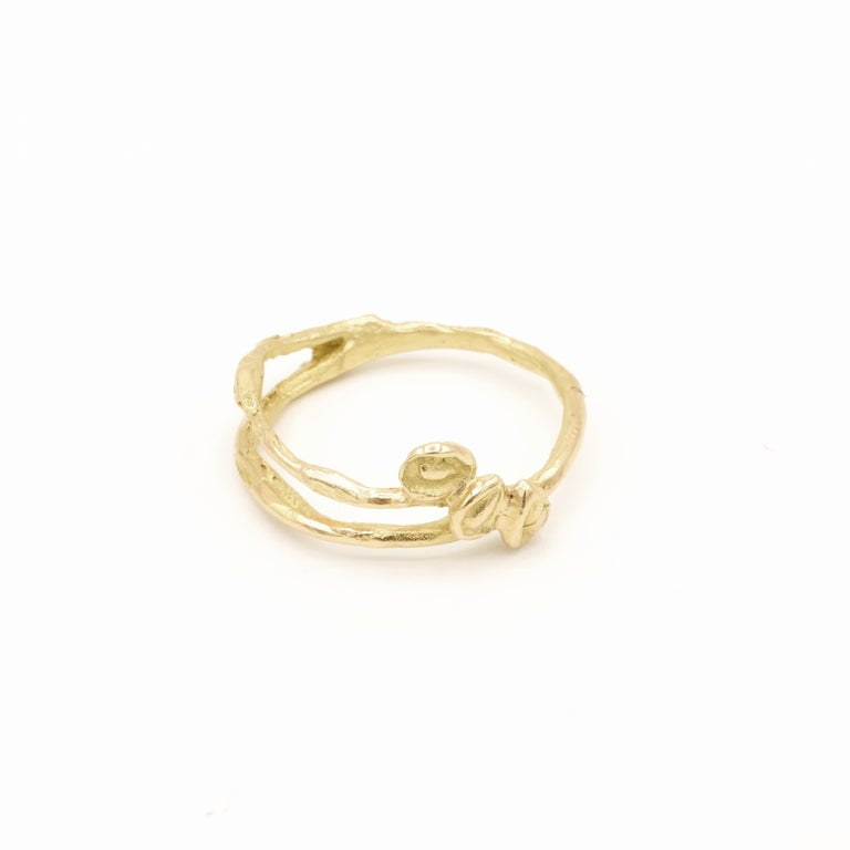 Contemporary 18 Karat Yellow Gold Engagement Ring For Sale