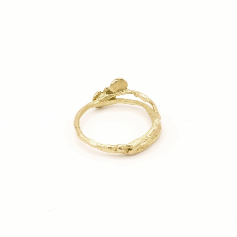 Women's 18 Karat Yellow Gold Engagement Ring For Sale