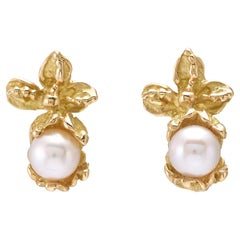 Akoya Pearls 18 Karat Yellow Gold Earrings