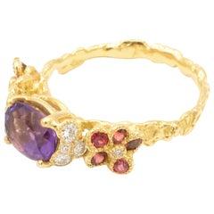 Amethyst Orange Sapphires Diamonds 18 Karat Yellow Gold Ring
